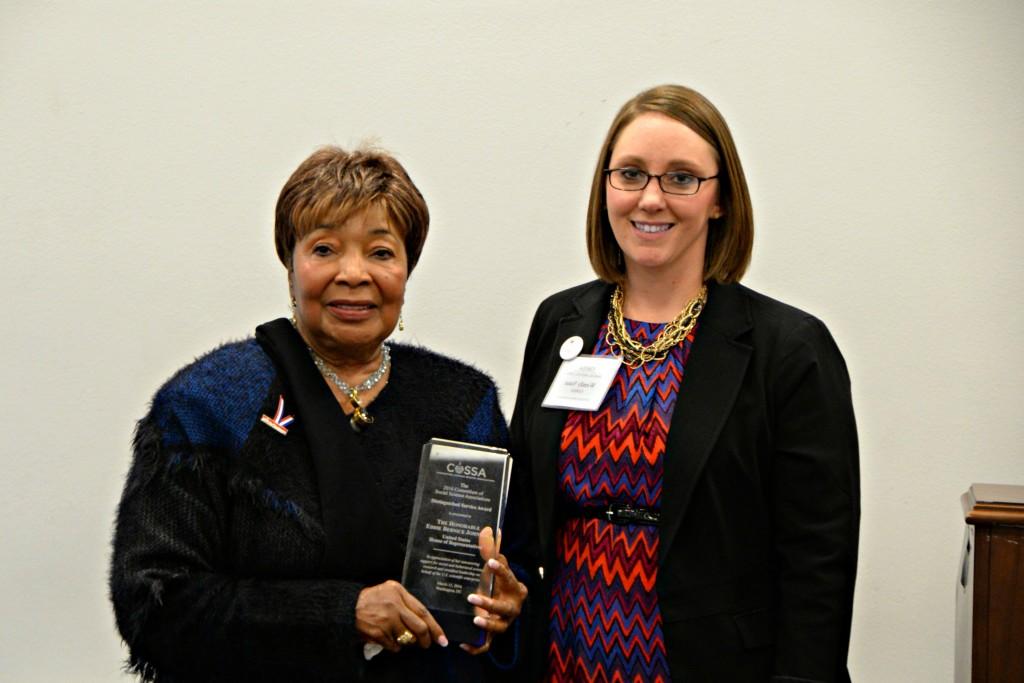 2016 COSSA Distinguished Service Award Winner Eddie Bernice Johnson and COSSA Executive Director Wendy Naus