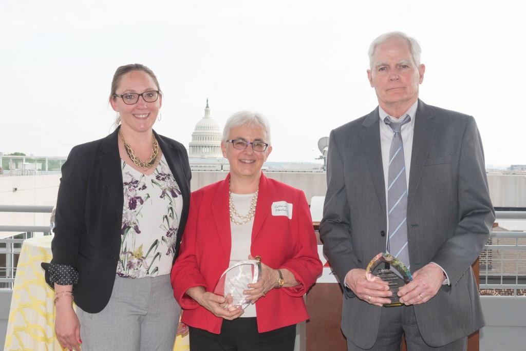 COSSA Executive Director with Wendy Naus (left) with 2019 Distinguished Service Award Recipients Katharine Abraham (center) and Ron Haskins (right)